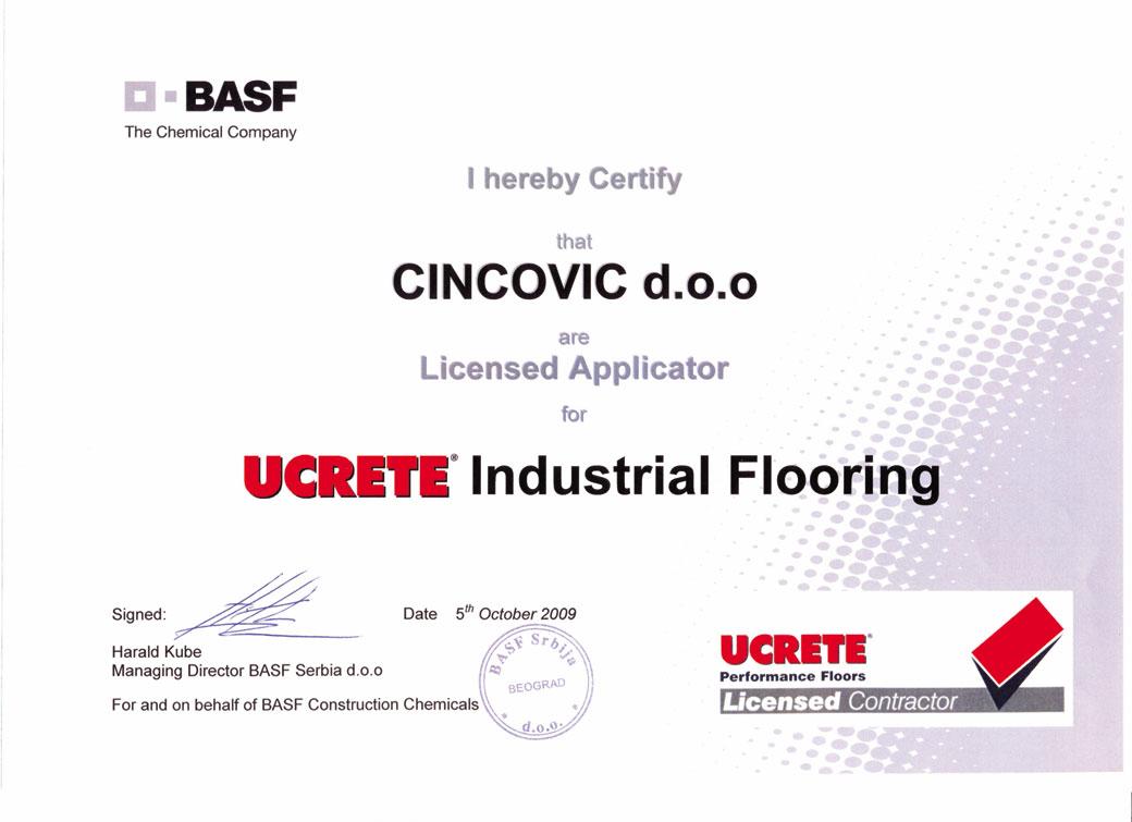 ucrete sertifikat Cincović d.o.o.