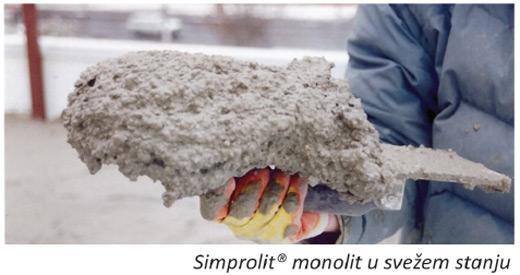 Simprolit monolit u svežem stanju