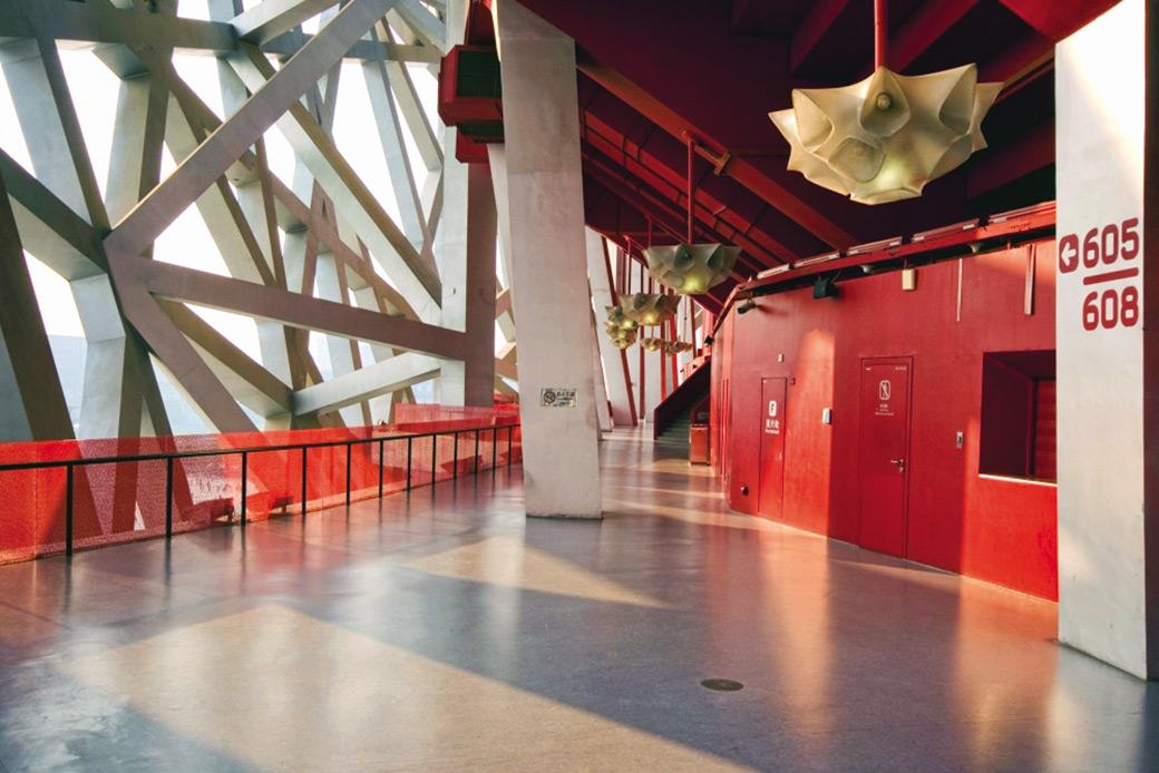 """Ptičje gnezdo"" Nacionalni stadion u Pekingu, arh. Herzog & De Meuron, pod Linoleum® Marmorette"