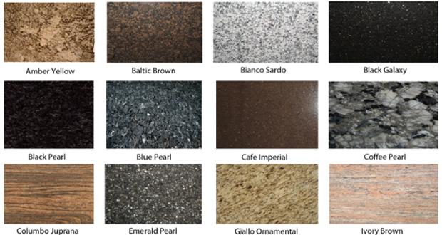 Granit u različitim strukturama i bojama