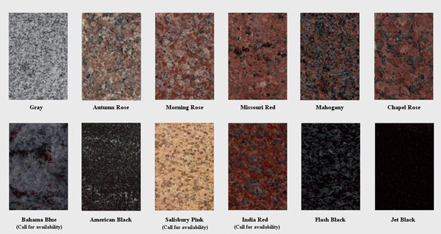 Raqzličite strukture i boje granita za vaš stil