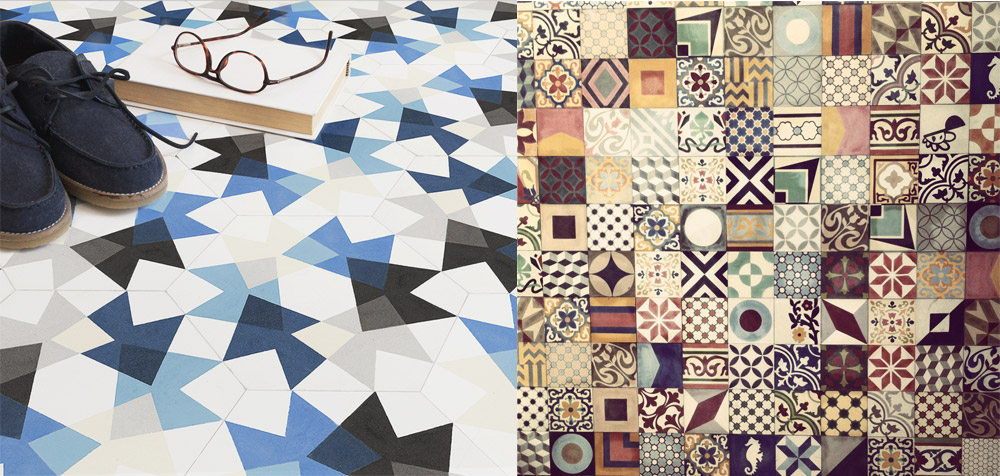 Kolaž pločica različitih grafičkih motiva evocira prošlost koristeći estetiku tradicionalnih cementnih pločica