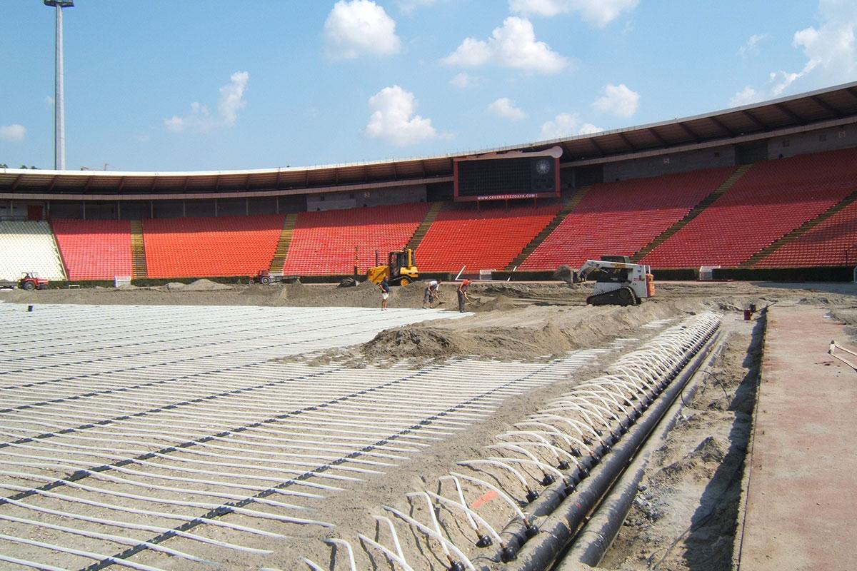 REHAU, Postavljanje cevnih registara na stadionu Rajko Mitic u Beogradu