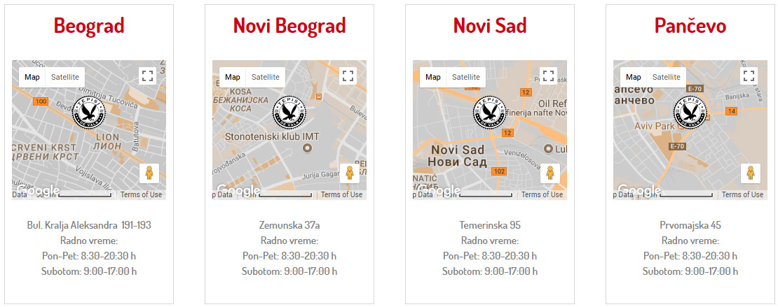 """Tepisi """"DE VALK"""" prodajna mesta Beograd, Novi Beograd, Novi Sad, Pančevo"""