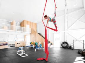 Gumeni podovi, prostor za vežbanje