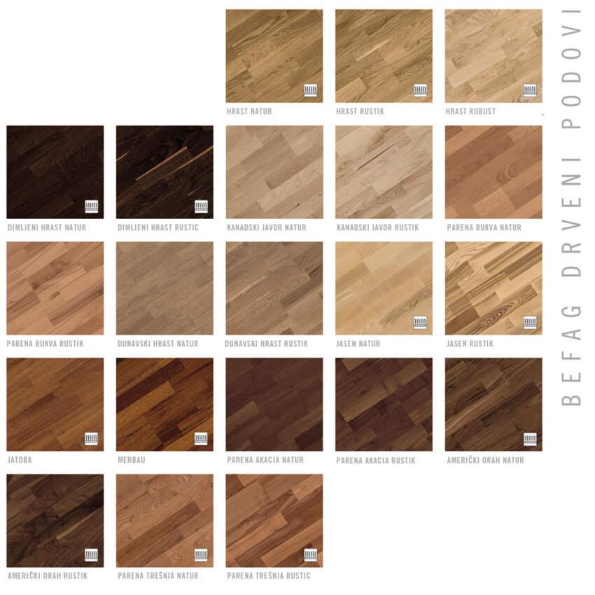 BEFAG drveni podovi - dezeni