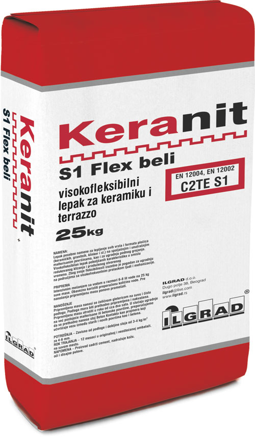 KERANIT S1 Flex beli lepak za keramiku i terrazzo